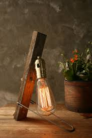 edison table lamp vintage home lighting. lamp industrial light wood lighting cool gifts for men edison bulb weathered vintage tablevintage table home