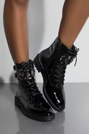 front view drawing me lace up jewel embellishment shiny combat boot in black patent