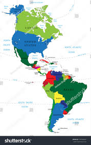 north south america map stock vector  with of and