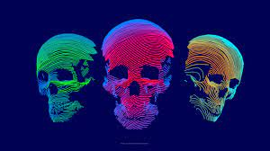 Wallpaper abstract, 3D, colorful, skull ...