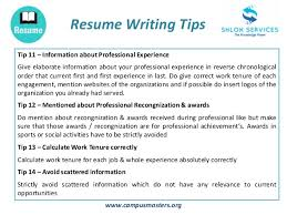 Resume Writing Tips Cool Resume Writing Tips