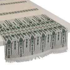 candlestick cotton table runner green m
