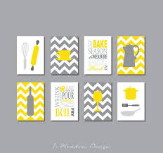 Kitchen Art Prints - Utensils, Appliances, Typography, Coffee, Wine, Set of  (8) 4 x 6 OR 5 x 7, Yellow Gray // Modern Kitchen Decor Unframed