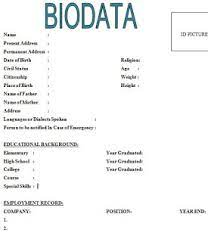 Definition of resume, definition of cv.resume definition. 6 Simple Biodata Format For Job Application Sample Contracts