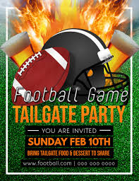 Green Party Flyer Green And Orange Football Tailgate Party Flyer Template