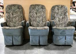 used rv set of 3 flexsteel captain chairs with 3rd passenger chair for rv furniture