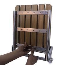 yaekoo stainless 304 solid burmese teak wall mounted folding shower bench seat 330mmx460mm