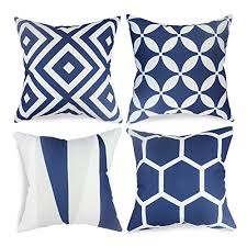 royal blue decorative pillows. Perfect Decorative Popeven Royal Blue Throw Pillow Covers Set Of 4 Outdoor Geometric Pattern  Cushion Slipcovers 18 X Square Accent Linen Decorative Pillows  Buy Online In  On W