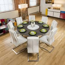 stunning round grey gloss dining table 8 white cantilever