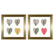 3d paper hearts framed wall art gold set of 2  on 3d paper heart wall art with 3d paper hearts framed wall art gold set of 2 target