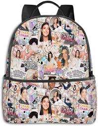 Charli D'amelio 14.5 Inch Fashion Black-Edged Backpack,School Bag,Laptop  Bags: Amazon.co.uk: Luggage