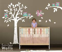 wall decorations owls tree wall decal nursery baby room decor a unique product by smileywalls on dawanda on tree wall art for baby nursery with wall decorations owls tree wall decal nursery baby room decor a