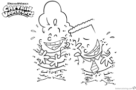 Captain Underpants Coloring Pages Characters Connect The Dots Free