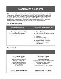 resume contractor fcfcebadacbdfa general contractor resume mentallyright org