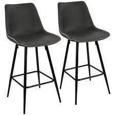 black and grey vintage faux leather counter stool set of 2 b26 drng bk gy2 the home depot