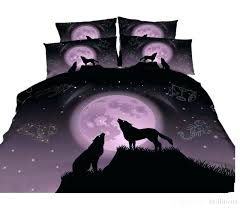 dark purple linen duvet cover bedding sets twin 3 styles wolf printed n full queen king