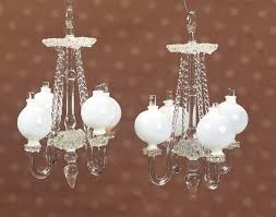 pair venetian glass doll house chandeliers with milk glass globes