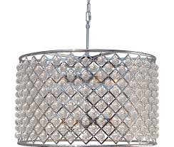 cassiel crystal drum chandelier chrome finish