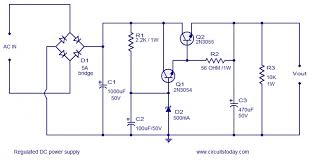 dc regulated power supply circuit diagram the wiring diagram regulated dc power supply using transistors circuit diagram
