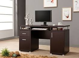 coaster 800107 espresso finish wood office computer desk with file cabinet drawer and open cabinet