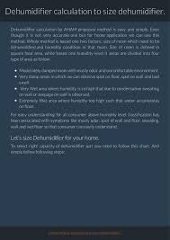 Dehumidifier Calculation Or Dehumidifier Sizing For Home