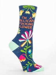 Amazon.com: Blue Q Women's Novelty Crew I'm A Delicate F king Flower(  Women's Shoe Size 5-10 ): Clothing