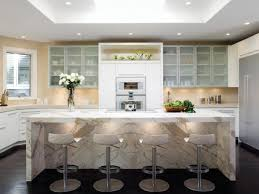 contemporary white kitchen with a waterfallstyle calacatta marble island modern white kitchens ideas36 kitchens