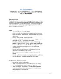 Personnel Management Job Description First Line Supervisor Or Manager Of Retail Sales Workers Job