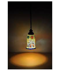 Lal Haveli Glass Decorative Hanging Lamp Night Light Pendant Multi Pack Of 1