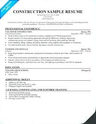 Construction Carpenter Job Description Resume Contruction Worker