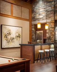 Furniture:Red Wall Paint For Bar Basement In Corner Space Feat Dark Wooden  Bar Counter