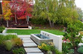 contemporary water features san francisco backyard water features landscape contemporary with red flowers transitional path lights