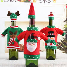 christmas decorations wine bottle sweater cover bag knitting hats snowman elk for new year xmas home dinner party decor interest best toys for