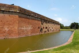 Moat And Exterior Walls Of Fort Pulaski National Monument On - Exterior walls