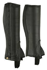 Horse Riding Adults Half Chaps Black With Full Grain Cowhide