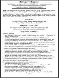 Early Childhood Education Resume Resume Templates