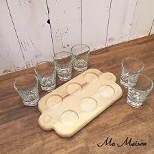 wooden shot glass tray shot tray w 6 shot glass
