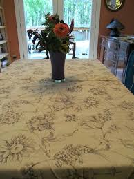 extra large table linens table cloth tan with large black leaves and flowers subtle round extra