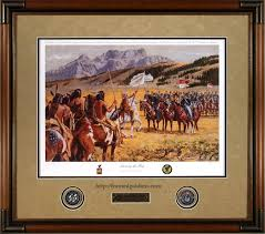 showing the flag custom framed military print