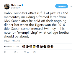 Dabo Swinney Keeps Classy Letter From Nick Saban After Winning Dinner