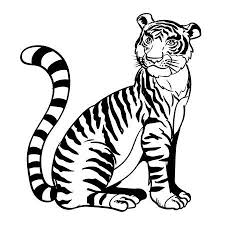 tiger black and white drawing. Interesting White Line Drawing Cartoon A Sitting Tiger In Black And White Color  Vector  Illustration Stock In Tiger Black And White Drawing