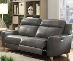 cayden gray leather aire match power reclining sofa main image