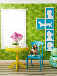 decorating furniture with paper. Fantastic Living Room With Diy Modern Art To Decorate Wall Flowery Paper In Green Color Also White Painting Of Human And Dog Decorating Furniture