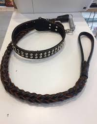 large dog durable handmade cowhide braided supreme leather leash with 2 row stud collar shock