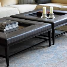 Coffee Table, Cozy Black Rectangle Contemporary Leather Padded Coffee Table  With Wood Tray Design Which ...