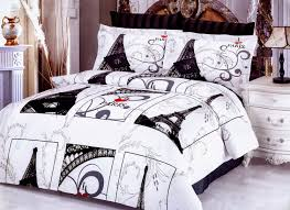 Bedroom:Paris Bedroom Theme With Black And White Bed Cover Color Idea Black  And White