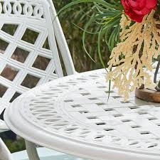White patio furniture White Wood Round White Patio Table Pier Patio Furniture Free Shipping Over 49 Pier1com Pier