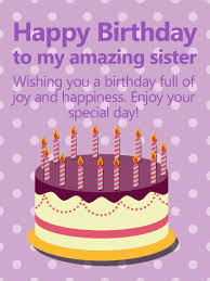 happy birthday cakes with wishes for sisters. Delighful Wishes Purple PolkaDots Happy Birthday Card For Sister Intended Cakes With Wishes For Sisters H