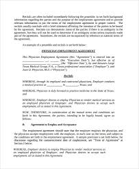 Example Of An Agreement Sample Physician Employment Agreement 7 Documents In Pdf