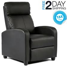 details about small recliner chair small space black leather reclining tv watching bedroom